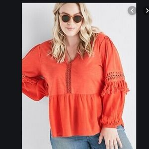 LUCKY BRAND Boho Crochet Fringe V-Neck Peasant Top